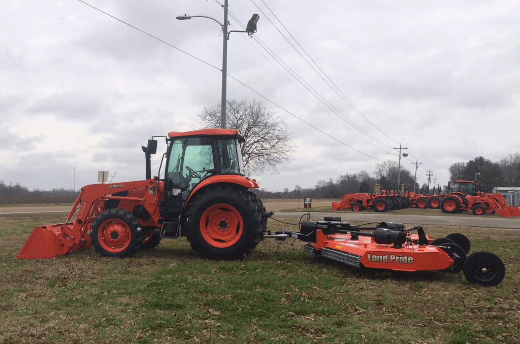 Image of Kubota tractor in front of Anderson Tractor business.